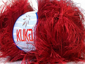 Kuka Jungle Red Long Eyelash Yarn 50 Gramme