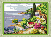 Good Value Cross Stitch Kits Beginners Kids Advanced - Seaside Landscapes 11 CT 50cm X 38cm , DIY Handmade Needlework Set Cross-Stitching Accurate Stamped Patterns Embroidery Home Decoration Frameless