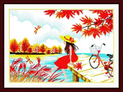 Good Value Cross Stitch Kits Beginners Kids Advanced - Waiting in Autumn 11 CT 60cm X 43cm , DIY Handmade Needlework Set Cross-Stitching Accurate Stamped Patterns Embroidery Home Decoration Frameless