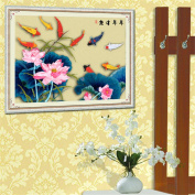 Silk Ribbon Embroidery Kit Handmade Goldfish Lotus Oriental Wall Hanging Art Asian Decoration