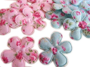 YYCRAFT Pack Of 120 Floral Print 3.8cm Flower-2 Colours