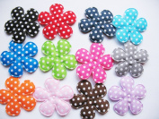 YYCRAFT Pack Of 120 Padded Felt Spring 3.8cm Polka dots Flower-12 colours
