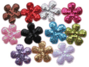 YYCRAFT Pack Of 110 Padded 3.8cm Flower w/Sequin-11 Colours