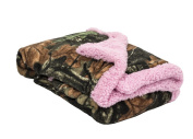 Trail Crest Infant Camo Soft Sherpa Lined Coral Fleece Baby Blanket W/ Magnet, Pink