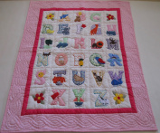ABC with ANIMALS, Quilt Baby Crib Blanket, Comforter, Wall Hanging, Hand Quilted and Machine Appliquéd