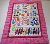 Hawaiian Style Number Quilt Baby Crib Blanket, Comforter, Wall Hanging, Hand Quilted and Machine Appliquéd