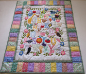 American Style Quilt Baby Crib Blanket, Comforter, Wall Hanging, Machine appliquéd