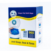 Neatforbaby Nappy Refill 32 Bags (960 Counts) Fully Compatible with Arm & Hammer Disposal System
