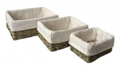 Set of 3 Cotton Lined Rectangular Seagrass Tray