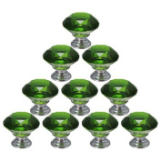 WICOO 10pcs 30mm Diamond Shape Crystal Glass Cabinet Knob Cupboard Drawer Pull