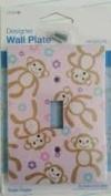 Designer Wall Plate - Pink Monkeys