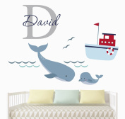 Custom Boy Name Nautical Wall Decal - Nursery Room Wall Decor - Nautical Nursery Wall Decals - Vinyl Art Decor For Kids Room