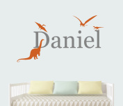 Custom Boy Name Dinosaur Wall Decals - Nursery Room Wall Decor - Nursery Wall Decals - Vinyl Art Decor For Kids Room
