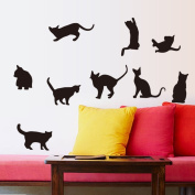 Naughty Black Cats Wall Decal Home Sticker PVC Murals Vinyl Paper House Decoration Wallpaper Living Room Bedroom Kitchen Art Picture DIY for Children Teen Senior Adult Nursery Baby