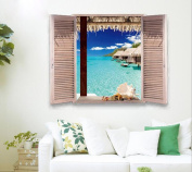 Removable Beach Sea 3D Window Decal Wall Sticker Home Decor Exotic Beach View Art Wallpaper Mural, 1 - Pack