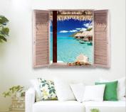 Removable Beach Sea 3D Window Decal Wall Sticker Home Decor Exotic Beach View Art Wallpaper Mural, 1 - Pack