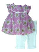 Little Wonders Infant Girls Daisy Chiffon Shirt & White Leggings 2 Piece Set