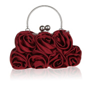 Summer New Women's Satin Evening Bag with Rosettes Evening Clutch Bag