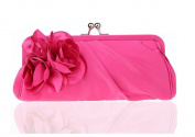 Womens Big Flower Vintage Satin Envelope Evening Cocktail Party Handbag