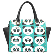 Ewa Cute Panda Pattern Women's Rivet PU leather Shoulder Bag Handbag