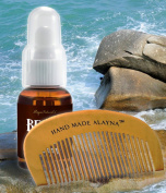 Alayna Organic Naturals Beard Oil and Leave-In Conditioner AND Hand Crafted Wooden Beard and Moustache Comb -Perfect Gift Set