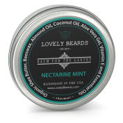 Nectarine Mint Scent - Lovely Beards Natural Beard Balm Leave-in Conditioner & Softener - Handmade In The USA - #1 Rated on Social Media - Best for Groomed Beard Growth, Moustache & Face