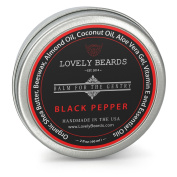 Black Pepper Scent - Lovely Beards Natural Beard Balm Leave-in Conditioner & Softener - Handmade In The USA - #1 Rated on Social Media - Best for Groomed Beard Growth, Moustache & Face