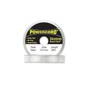 Powercord Elastic Cord Clear 0.4mm diameter 27.3 yards / 25 metres