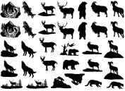 Rocky Mountain Animals 2.5cm - Black 15CC453 Fused Glass Decals