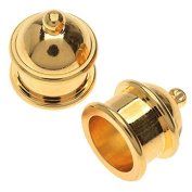 TierraCast Maker's Collection, Pagoda Cord Ends Fits 10mm, 2 Pieces, 22K Gold Plated