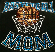 Basketball Mom Blue Rhinestone Transfer Iron On