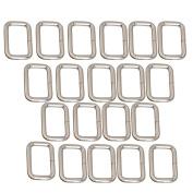 20pcs Metal Bag Purse Snap Hook 25mm Rectangle Rings Webbing Belts Buckle