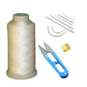 AntKits Bonded Nylon Sewing Thread, Curved Needles, Scissors and Thimble Tools Kits