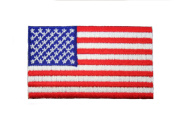 United States USA Stars & Stripes Country Flag Small Iron on Patch Crest Badge .. 3.8cm X 6.4cm ... New
