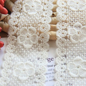 Ivory 5 Yards 5.4cm Wide Grace Flower Embroidered Mesh Lace Dress Lace Trim Fabric Ribbon Curtain Accessory Craft Lace