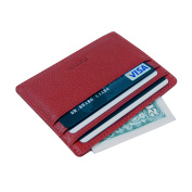 OMT Genuine Leather Unisex Slim Front Pocket Card Case Credit Super Thin Fashion Card Holder Wallet With ID Card Window