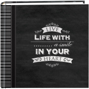 "Pioneer Photo Albums 200-Pocket Chalkboard Printed ""Smile"" Theme Photo Album for 10cm by 15cm Prints"