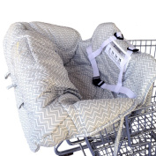 Deluxe Baby Shopping Cart Cover/High Chair Cover By Toogli - Grey and White Chevron. Best Infant Grocery Cart Seat Cover for Boys or Girls. Cushy Comfort Padding. Lifetime Guarantee.