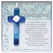Grandparent Gifts For My Godfather Handmade Blue Glass Cross Size