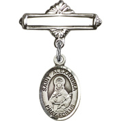 Sterling Silver Baby Badge with St. Alexandra Charm and Polished Badge Pin 2.5cm X 1.6cm
