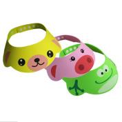 Cren® 3pcs Safe Shampoo Shower Bathing Protect cute cartoon Frog Pig Bear Soft Cap Hat for Baby Children Kids
