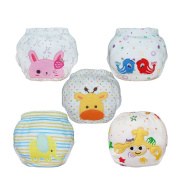 Babyfriend Baby Girls' Washable 5 Pack Training Pants Kids Potty Cloth Nappy Nappy Underwear TP5-001