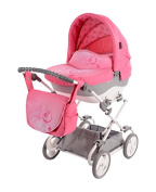 Knorr-Baby 49906 Doll Stroller Sunshine With Adjustable Push Handle, Pink