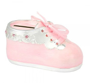Lovely Baby Shoe Money Box Silver Plated With Pink Enamel - From the Leonardo Collection