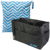 KF Baby Nappy Bag Insert Organiser 30cm (Black) + Nappy Wet Dry Bag Value Combo