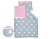 Minififia Bed Linen Set for Large White Stars on Grey Plain Pink 100 x 135 cm and Pillow 40 x 60 cm 140 x 200 cm/80 x 80 cm