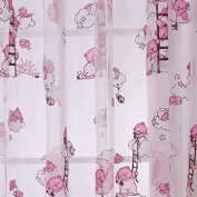 Seguryy 1m*2m Curtains Pink Cute Bear Pattern Offset Blind Printed Glass Yarn for Girls & Boys Bedroom