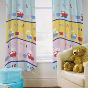Children's Polycotton Tape Top Ready Made Curtain Pair - Trains