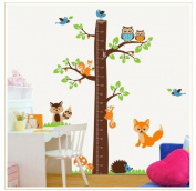 """New Design Tree Height Chart (0"""" - 170cm ) with Birds Fox Owl and Squirrel Wall Sticker Kids Room Decor"""