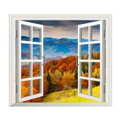3D mountains and forest scenery wall stickers wall stickers the window decoration
